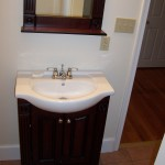 Box store sink-mirror package installed in a house flip in Lancaster.