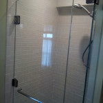 Fiberglass shower stall converted to beautiful! Took out part of wall to expand area.
