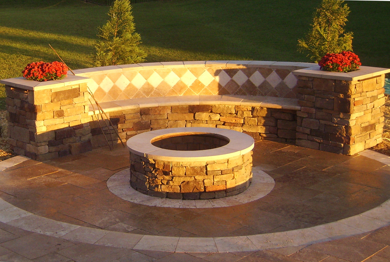 Prime Outdoor Fire Pit With Permanent Benches On A Radius Caraccident5 Cool Chair Designs And Ideas Caraccident5Info