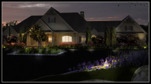 3D photo realistic rendering of a planting and lighting scheme.