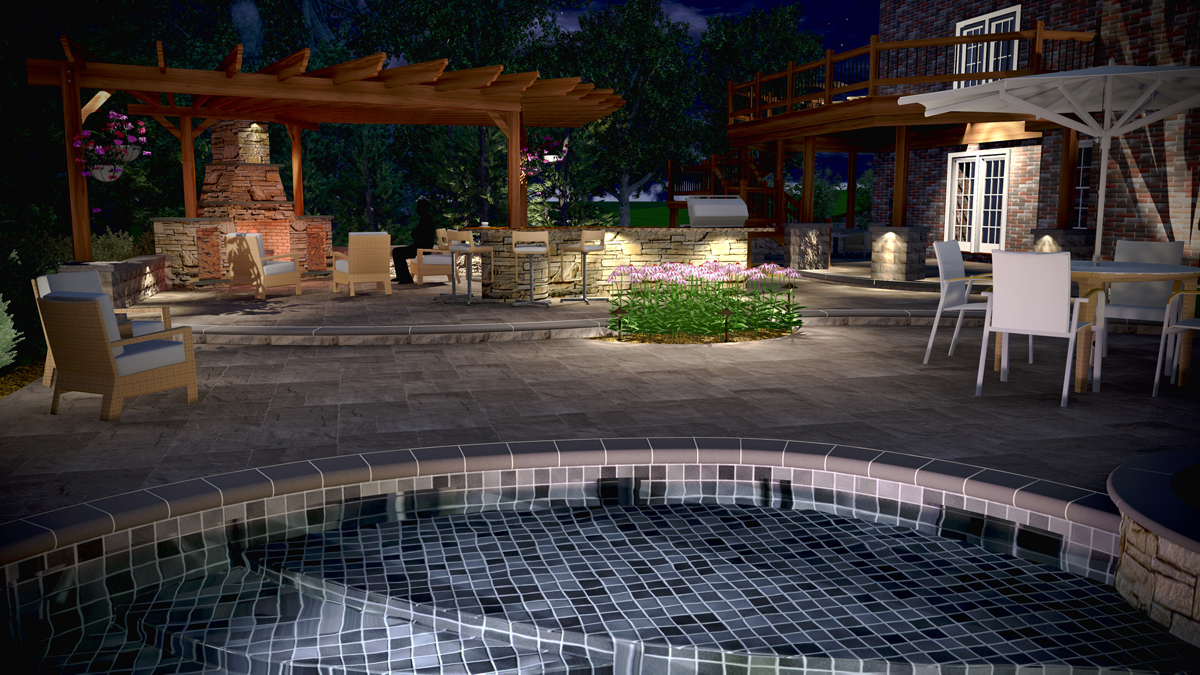 3d Render Of An Outdoor Kitchen Fireplace And Pool Surround