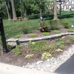 A series of planting beds leading to the house started with this one by the road.