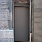 Downtown Philly butler alley door. Metal with wood veneer over it for security and historic accuracy.