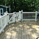 Low maintenance deck with low maintenance railing. Deck fastened with hidden screw system.