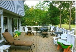 Low maintenance deck with hidden fasteners. Lighting also by HAG.