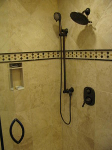 MOEN shower set up installed with a shower project.