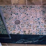 Pebble floor and soapstone sill.