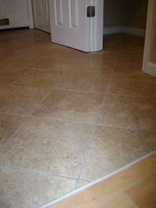 Porcelain laid at an angle to the walls, which really helped this apartment seem more spacious when you entered.