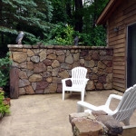 Retaining wall on a cabin.