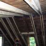 Sistering up roof rafters to keep a roof from sagging further in Lancaster PA. We salvaged some beams to serve as visible collar ties in the finished product.