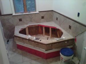 Spa tub in progress.