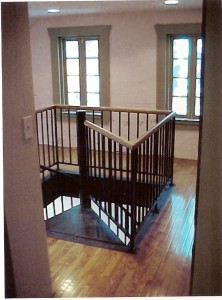 Spiral stairs added to a carriage house to add functionality.
