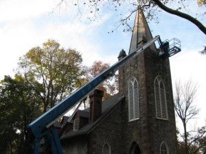 Steeple restoration on a church converted to a home in Wernersville.
