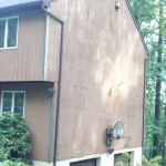T-111 vertical wood siding. We replaced a few rotting sections.