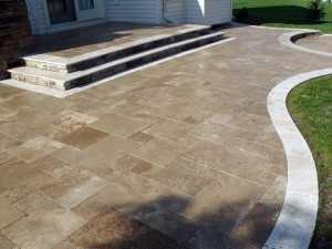 Travertine patio and border. All natural.