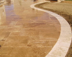 Travertine border.