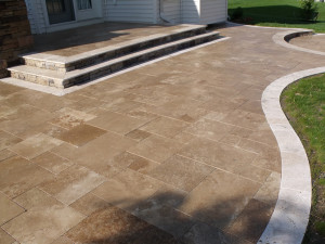 Travertine laid in a couple of shades to add accents.