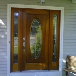 Unfinished mahogany entry door installed and finished by HAG.
