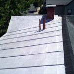 We paint and seal roofs too. We also replaced a section of shingles at the same time.