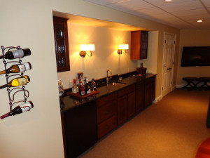 Wet bar in a basement. All work by HAG.