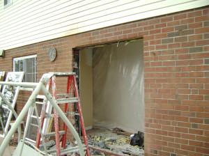Window-to-door project in progress.