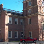 Yes, that's Independence Hall. Soffit restoration and masonry restoration at a later date. One of our proudest accomplishments. The truck is our President's and this is the rear of the building.
